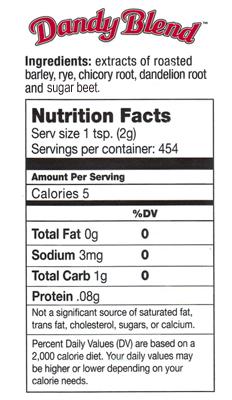Dandy blend nutrition_label